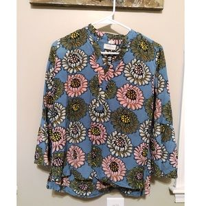 Loft printed blouse with bell sleeves